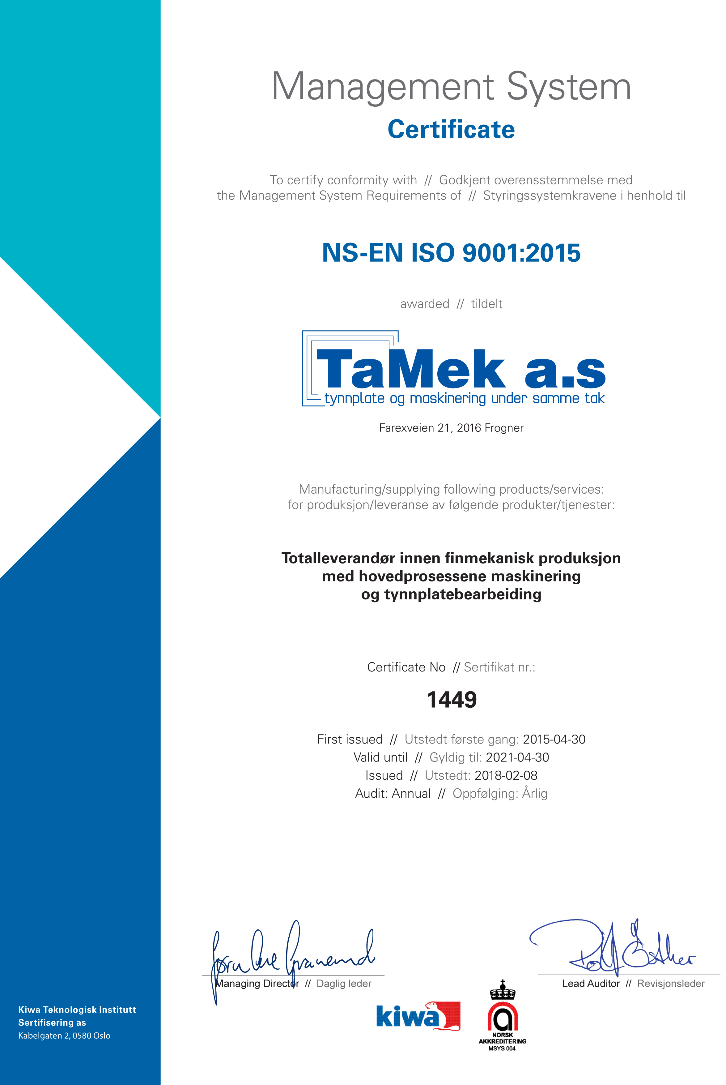 02655bb5 TaMek AS | ISO 9001 sertifisert